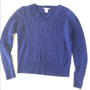 Evelyn Grace Cashmere Knit Sweater Royal Blue Lg